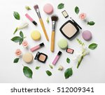 makeup cosmetic with macaroons... | Shutterstock . vector #512009341