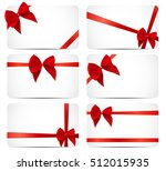 gift card set with red ribbon... | Shutterstock .eps vector #512015935