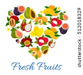 heart emblem of fresh exotic... | Shutterstock .eps vector #512018329