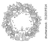 Christmas Wreath In Doodle...