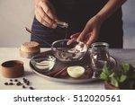 woman making coffee body scrub... | Shutterstock . vector #512020561