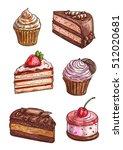 patisserie sweet desserts... | Shutterstock .eps vector #512020681