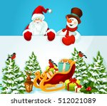 santa claus and snowman holding ...