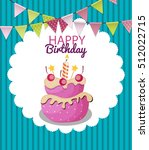 color glossy happy birthday... | Shutterstock . vector #512022715