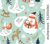 christmas seamless pattern with ... | Shutterstock .eps vector #512031061