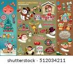 vintage christmas poster design ... | Shutterstock .eps vector #512034211
