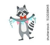 cute raccoon character holding... | Shutterstock .eps vector #512038045