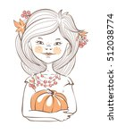 fall girl   autumn illustration ... | Shutterstock .eps vector #512038774