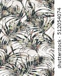 tropical leaves pattern with... | Shutterstock . vector #512054074