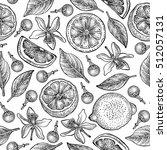 seamless pattern with lemons ... | Shutterstock .eps vector #512057131