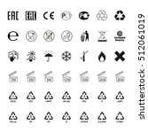 packaging symbols set. icons on ... | Shutterstock . vector #512061019