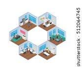 isometric office vector... | Shutterstock .eps vector #512064745
