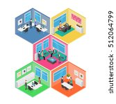 isometric office vector... | Shutterstock .eps vector #512064799