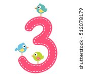 the number three with birds   Shutterstock .eps vector #512078179