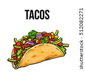 taco  traditional mexican food  ... | Shutterstock .eps vector #512082271