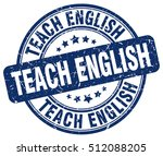 teach english stamp.  blue... | Shutterstock .eps vector #512088205
