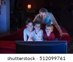 at home by night  cheerful... | Shutterstock . vector #512099761