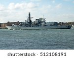 Small photo of Portsmouth, Hampshire November 7 2016 HMS Iron Duke leaving port