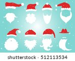 santa hats  moustache and... | Shutterstock .eps vector #512113534