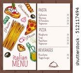 italian menu pasta restaurant...   Shutterstock .eps vector #512117494