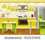 colored modern kitchen interior ... | Shutterstock .eps vector #512117641