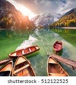 pleasure boats on braies...   Shutterstock . vector #512122525