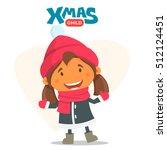 cheerful child. winter...   Shutterstock .eps vector #512124451