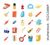 colorful stationery icons set...