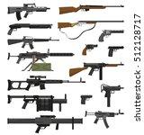 big flat set of various weapons ...   Shutterstock .eps vector #512128717