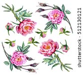 pink peony and roses. seamless... | Shutterstock . vector #512130121