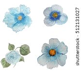 a collection of blue flowers... | Shutterstock . vector #512131027