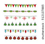 christmas flags and garlands set | Shutterstock .eps vector #512137885
