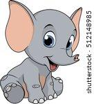 cute funny baby elephant | Shutterstock .eps vector #512148985