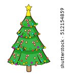 isolated christmas tree cartoon | Shutterstock .eps vector #512154859