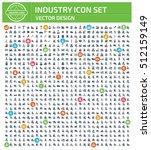 industry icon set clean vector | Shutterstock .eps vector #512159149