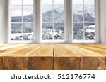 wooden table and window of... | Shutterstock . vector #512176774