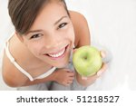 Apple Woman Holding Green Appl...