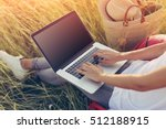 young woman working with laptop ... | Shutterstock . vector #512188915