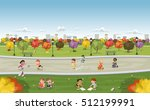 colorful park in the city with... | Shutterstock .eps vector #512199991