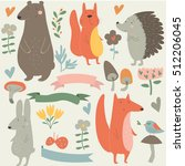 set of forest animals in... | Shutterstock .eps vector #512206045