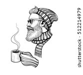 vector black and white bearded... | Shutterstock .eps vector #512214979