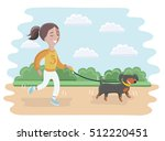 Stock vector vector cartoon illustration of a little girl taking her dog for a walk in the park 512220451