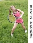 preteen girl playing tennis... | Shutterstock . vector #51223150