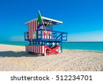 lifeguard tower in south beach  ... | Shutterstock . vector #512234701