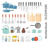 cookware set of icons  flat... | Shutterstock .eps vector #512249185