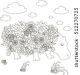 Flowers Hippo  Coloring Page...