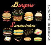 vector set of bright burgers... | Shutterstock .eps vector #512270749