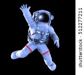 Astronaut Waving On A Black...