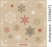 hand drawn snowflakes set with... | Shutterstock .eps vector #512306671