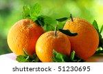 Three oranges. - stock photo